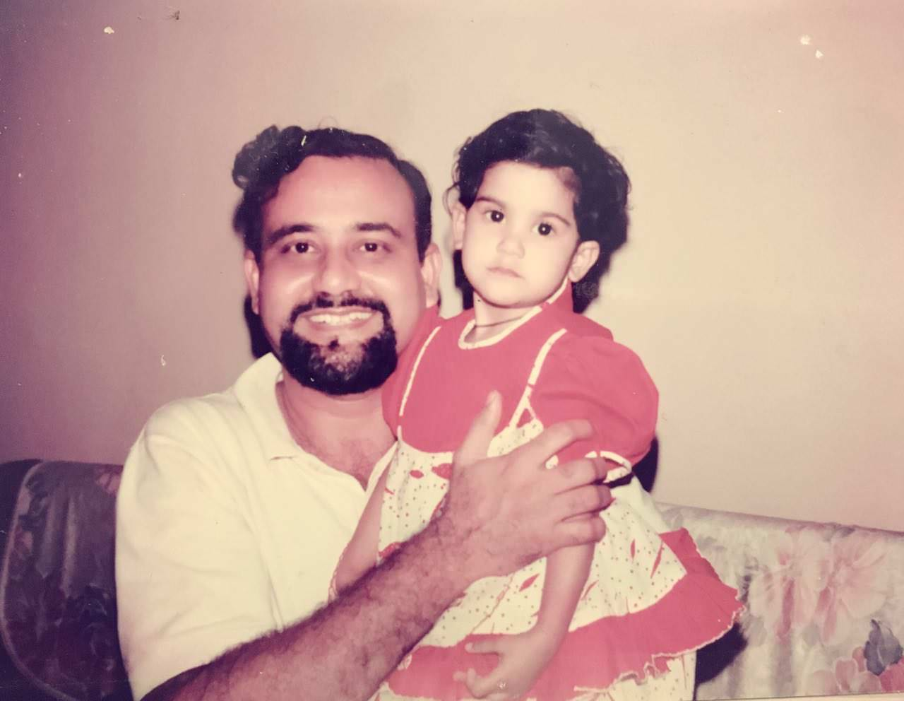 Aaditi Pohankar Childhood photo with father